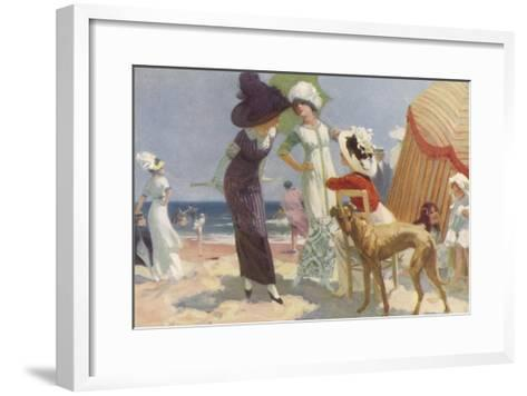 Elegance on the Beach, It's the Place to be Seen and a Lady Wants to be Seen at Her Best--Framed Art Print