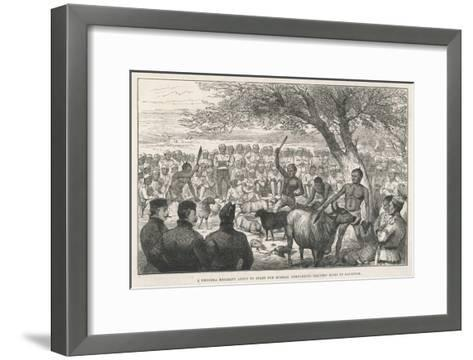 Battalion of Ghurka Soldiers En Route to Burma Offering Sacrifices to Drive Away Cholera--Framed Art Print