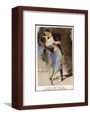 Oh for a Jazz with You!, Two Dancers Kiss as They Dance--Framed Art Print