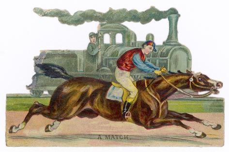 Racehorse Competes with a Steam Engine--Stretched Canvas Print