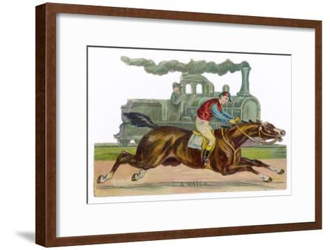 Racehorse Competes with a Steam Engine--Framed Art Print