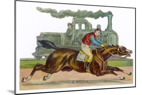 Racehorse Competes with a Steam Engine--Mounted Giclee Print