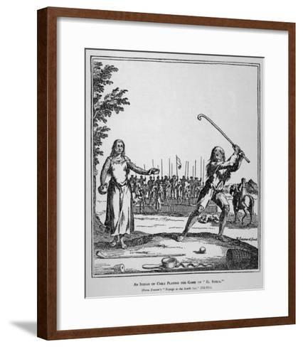 """Native of Chile Prepares to Smite His Ball During a Game of """"El Sueca"""" an Early Form of Golf--Framed Art Print"""
