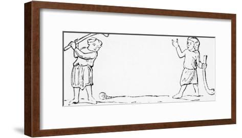 """Two Men Play a Game of """"Bandy-ball"""" a Primitive Form of Golf--Framed Art Print"""