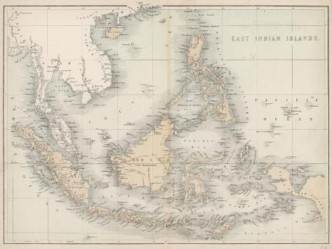 Map of the East India Islands--Stretched Canvas Print