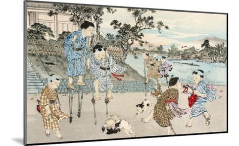 Japanese Children Play on Stilts and Hobby Horses--Mounted Giclee Print