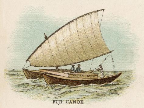 Sailing Catamaran Canoe Used in Fiji--Stretched Canvas Print