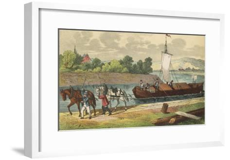 Two Horses Draw a Barge Along a German Canal--Framed Art Print