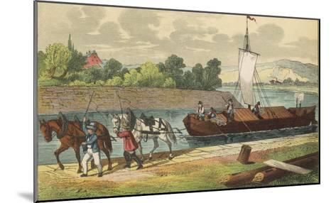 Two Horses Draw a Barge Along a German Canal--Mounted Giclee Print