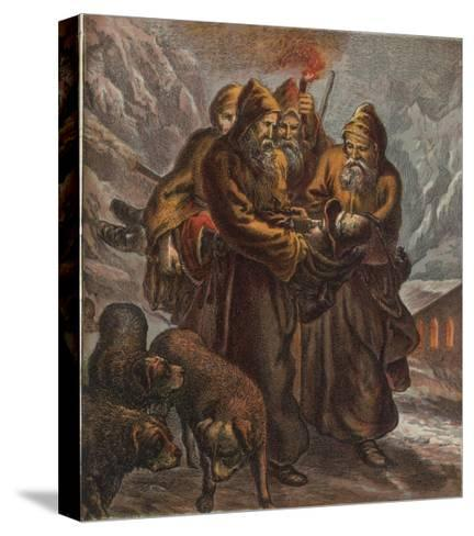 Traveller on the Pass of Saint Bernard is Saved by Dogs and Monks--Stretched Canvas Print