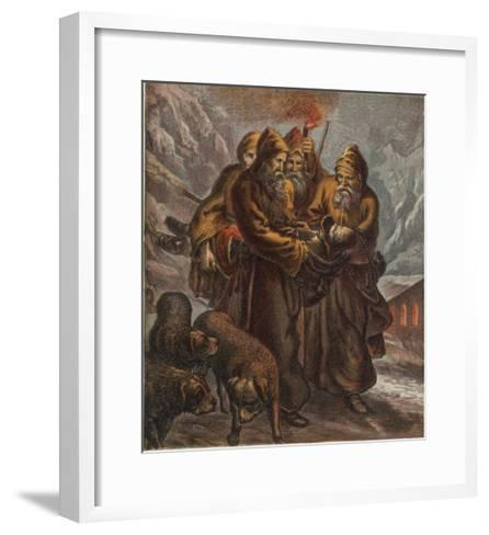 Traveller on the Pass of Saint Bernard is Saved by Dogs and Monks--Framed Art Print