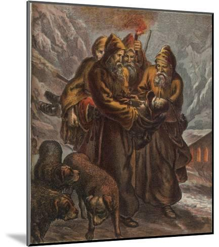 Traveller on the Pass of Saint Bernard is Saved by Dogs and Monks--Mounted Giclee Print