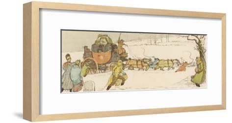 The Stagecoach Horses Pull Their Coach Through Heavy Snow--Framed Art Print
