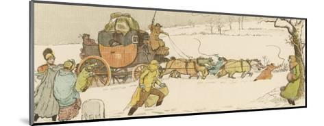 The Stagecoach Horses Pull Their Coach Through Heavy Snow--Mounted Giclee Print
