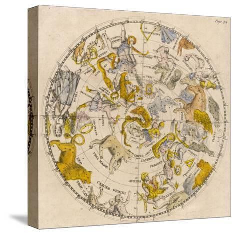 Sky Chart Showing the Signs of the Zodiac and Other Celestial Features--Stretched Canvas Print