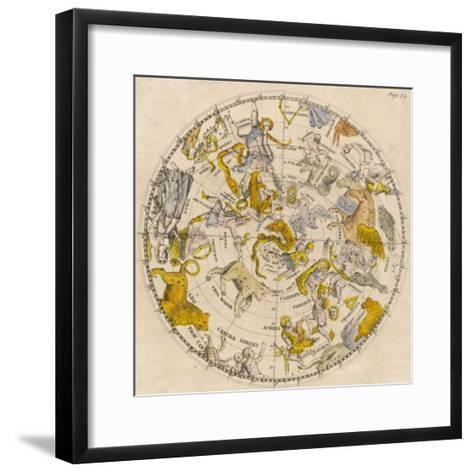 Sky Chart Showing the Signs of the Zodiac and Other Celestial Features--Framed Art Print