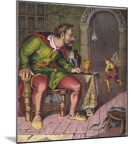 Jack Runs off with the Giant's Harp--Mounted Giclee Print