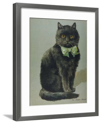 Handsome Black Cat Sir Thomas Mouser Sits Posed with a Green Ribbon Around His Neck--Framed Art Print
