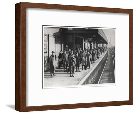 Platform Full of Commuters Wait for the London Waterloo Train Service During the Morning Rush Hour--Framed Art Print