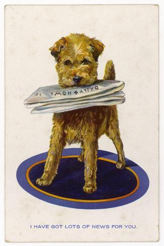 "Well Behaved Dog Brings a Copy of the ""Daily Howl"" Filled with Lots of News--Stretched Canvas Print"