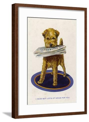 "Well Behaved Dog Brings a Copy of the ""Daily Howl"" Filled with Lots of News--Framed Art Print"
