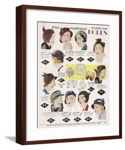 Stylish Selection of Women's Hats Including Many Brimless Designs--Framed Art Print