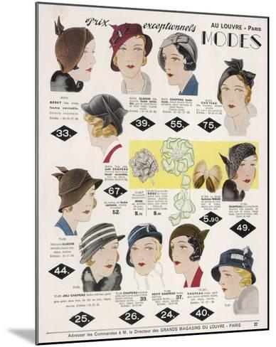 Stylish Selection of Women's Hats Including Many Brimless Designs--Mounted Giclee Print