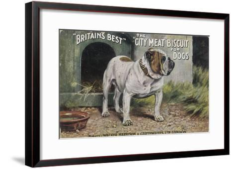 """Bulldog Stands Outside His Kennel in an Advertisement for """"City Meat"""" Dog Biscuits--Framed Art Print"""