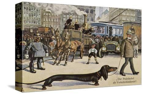 Very Long Dachshund Causes a Problem for Traffic When It Crosses the Road with His Owner--Stretched Canvas Print