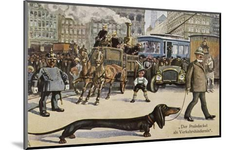 Very Long Dachshund Causes a Problem for Traffic When It Crosses the Road with His Owner--Mounted Giclee Print