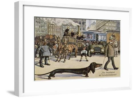 Very Long Dachshund Causes a Problem for Traffic When It Crosses the Road with His Owner--Framed Art Print