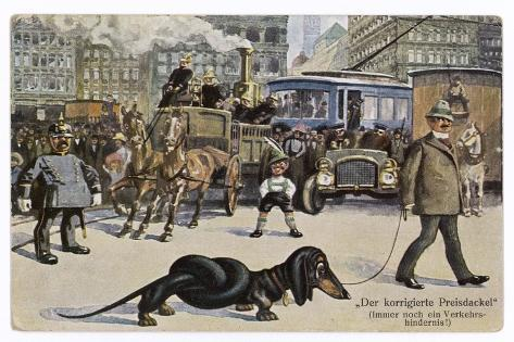 The Solution to the Problem for Traffic When a Very Long Dachshund Crosses the Road with is Owner--Stretched Canvas Print