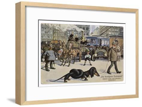 The Solution to the Problem for Traffic When a Very Long Dachshund Crosses the Road with is Owner--Framed Art Print