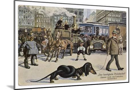 The Solution to the Problem for Traffic When a Very Long Dachshund Crosses the Road with is Owner--Mounted Giclee Print