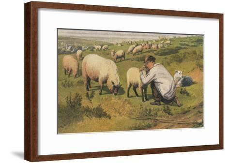 Shepherd in a Meadow with His Dog and His Sheep--Framed Art Print