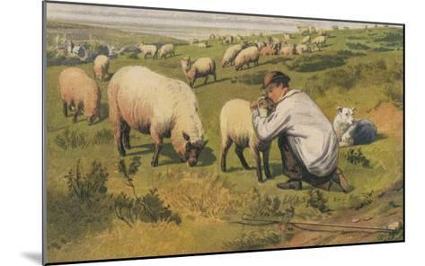 Shepherd in a Meadow with His Dog and His Sheep--Mounted Giclee Print
