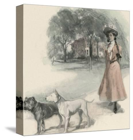 An American Girl Walks with an English Bull Terrier and and a Bulldog--Stretched Canvas Print