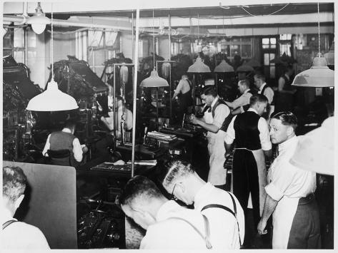 Busy Newspaper Office--Stretched Canvas Print