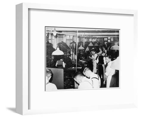 Busy Newspaper Office--Framed Art Print