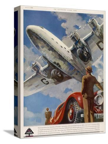 """An Armstrong Whitworth """"Ensign"""" of Imperial Airways Takes Off--Stretched Canvas Print"""