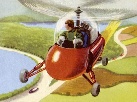 Personal Helicopter--Stretched Canvas Print