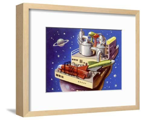 Service Station in Space for Refuelling and Repairing Interplanetary Craft--Framed Art Print