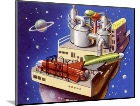 Service Station in Space for Refuelling and Repairing Interplanetary Craft--Mounted Giclee Print
