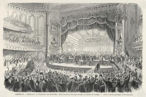 An Election Meeting in Chicago Opera House: in the Outcome General Grant Will be Elected--Stretched Canvas Print