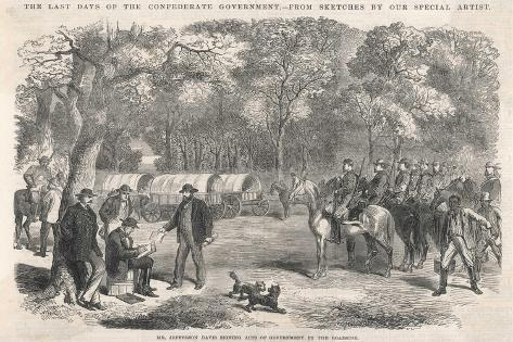 The Last Days of the Confederacy: Jefferson Davis Signs Acts of Government by the Roadside--Stretched Canvas Print