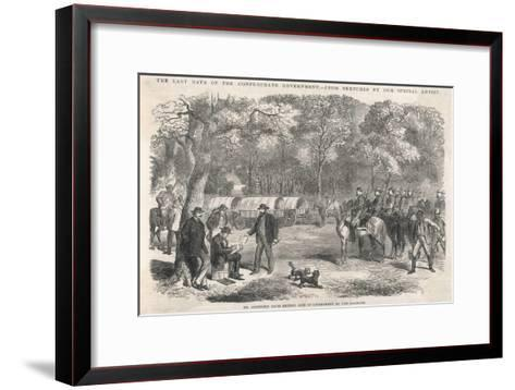The Last Days of the Confederacy: Jefferson Davis Signs Acts of Government by the Roadside--Framed Art Print