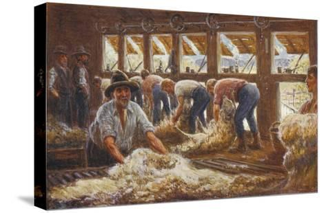 In an Australian Sheep Shearing Shed-Percy F^s^ Spence-Stretched Canvas Print