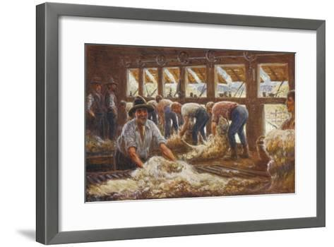 In an Australian Sheep Shearing Shed-Percy F^s^ Spence-Framed Art Print