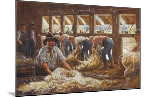 In an Australian Sheep Shearing Shed-Percy F^s^ Spence-Mounted Giclee Print