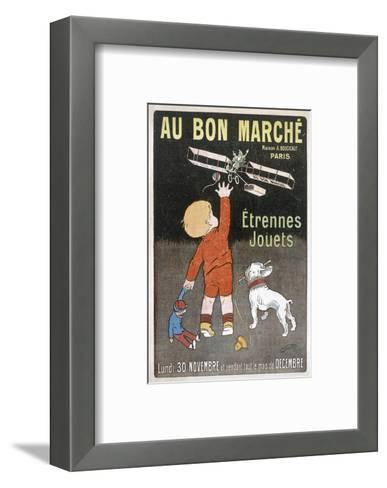 Small Boy Waves to Father Christmas as He Flies Past in a Plane--Framed Art Print